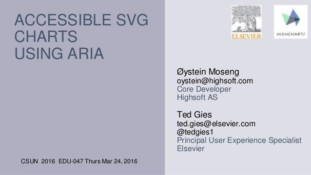 ACCESSIBLE SVG CHARTS USING ARIA CSUN 2016 EDU-047 Thurs Mar 24, 2016 Øystein Moseng oystein@highsoft.com Core Developer H...