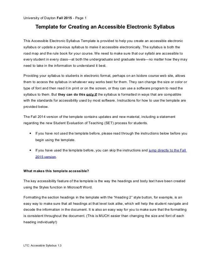 create a syllabus template - accessible syllabus 1