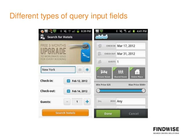 Different types of query input fields