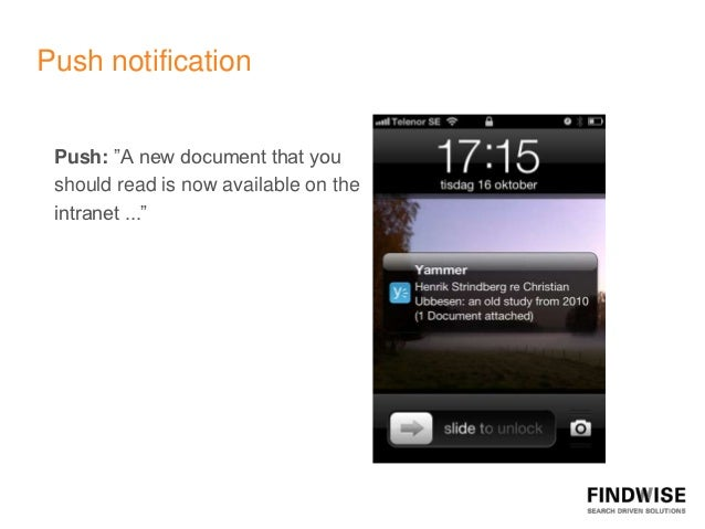 """Push notification Push: """"A new document that you should read is now available on the intranet ..."""""""