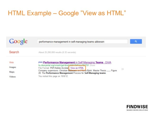"""HTML Example – Google """"View as HTML"""""""