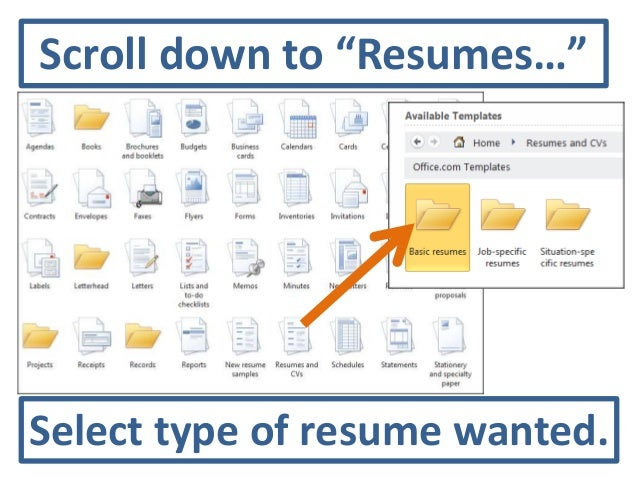 Select Type Of Resume Wanted.  Resume Templates In Word 2010