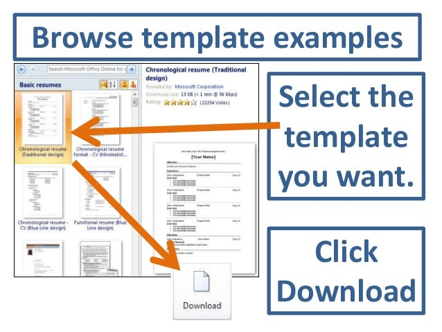 5. Browse Template ... Intended Microsoft Word 2010 Resume Templates