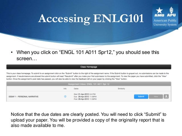 """Accessing ENLG101• When you click on """"ENGL 101 A011 Spr12,"""" you should see this  screen…Notice that the due dates are clea..."""