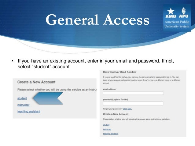 """General Access• If you have an existing account, enter in your email and password. If not,  select """"student"""" account."""