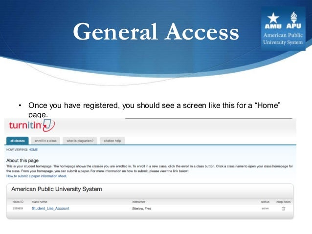 """General Access• Once you have registered, you should see a screen like this for a """"Home""""  page."""