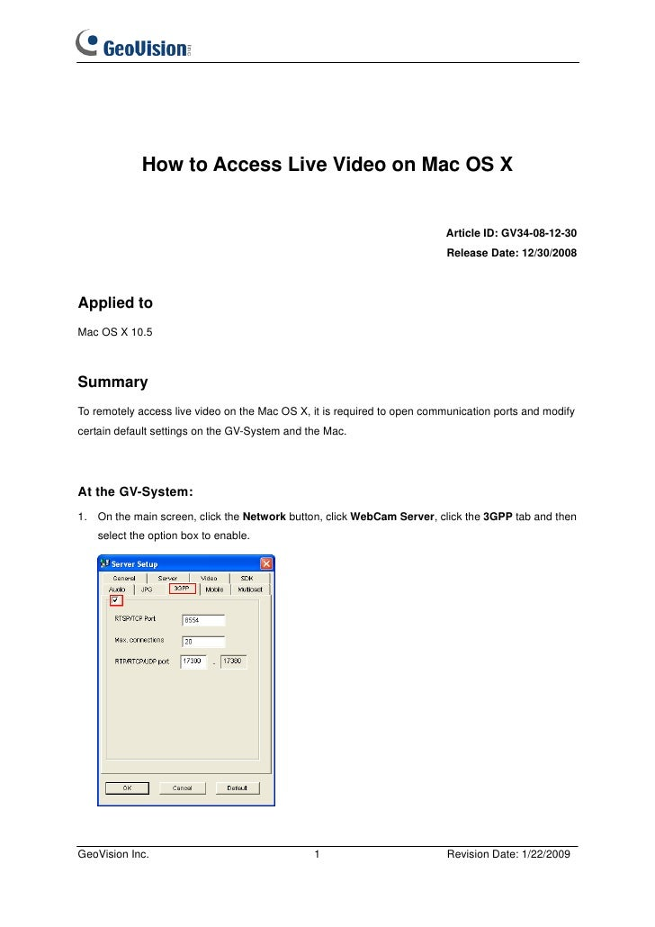 How to Access Live Video on Mac OS X                                                                          Article ID: ...
