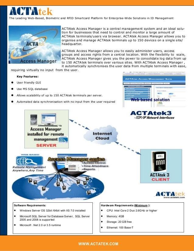 WWW.ACTATEK.COM The Leading Web-Based, Biometric and RFID Smartcard Platform for Enterprise-Wide Solutions in ID Managemen...