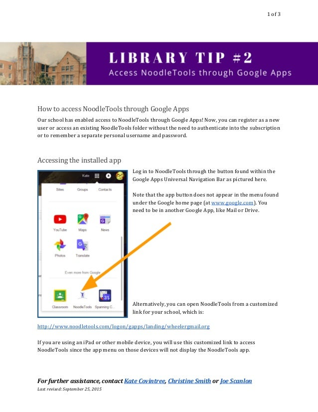 1of3  HowtoaccessNoodleToolsthroughGoogleApps OurschoolhasenabledaccesstoNoodleToolsthroughGoogleAp...
