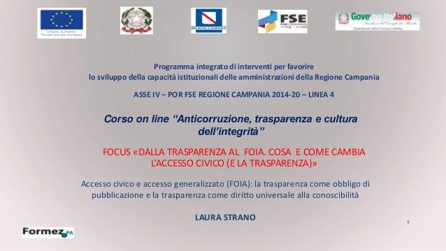1 FOCUS «DALLA TRASPARENZA AL FOIA. COSA E COME CAMBIA L'ACCESSO CIVICO (E LA TRASPARENZA)» Programma integrato di interve...