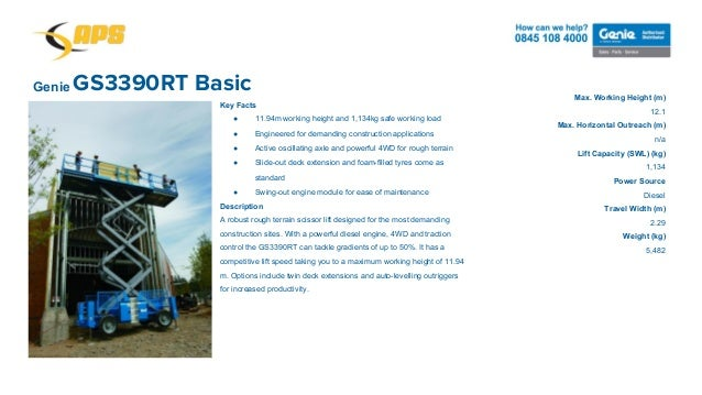 GS3390RT BasicGenie Max. Working Height (m) 12.1 Max. Horizontal Outreach (m) n/a Lift Capacity (SWL) (kg) 1,134 Power Sou...