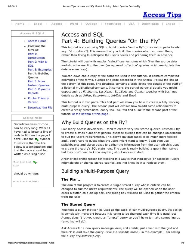 Access tips access and sql part 4 building select queries on