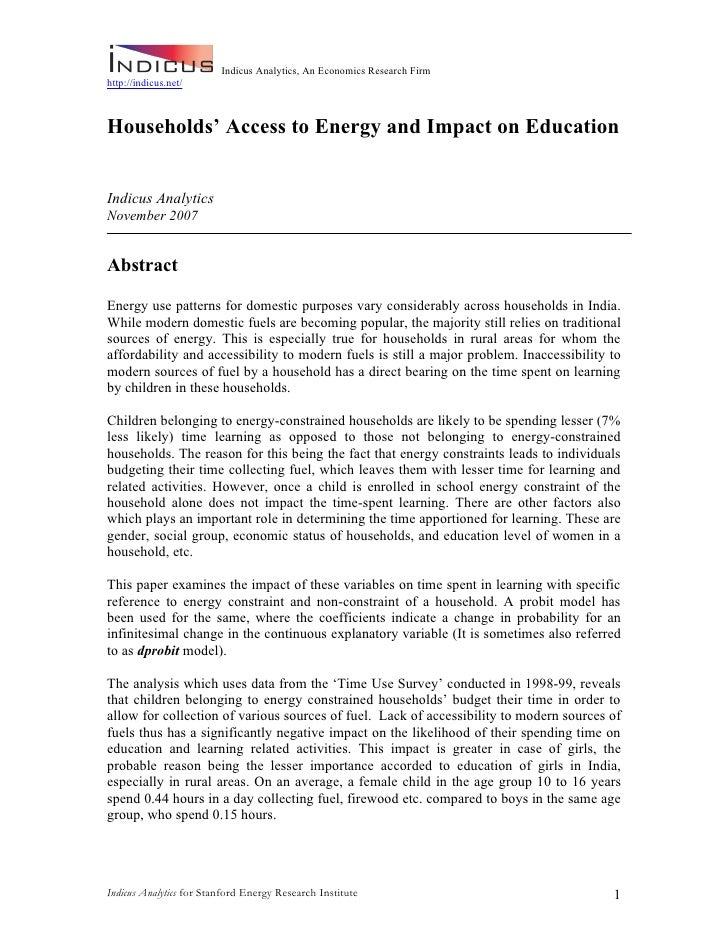 Indicus Analytics, An Economics Research Firm http://indicus.net/    Households' Access to Energy and Impact on Education ...