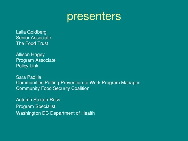 Access to Healthy Food for Underserved Populations Slide 2