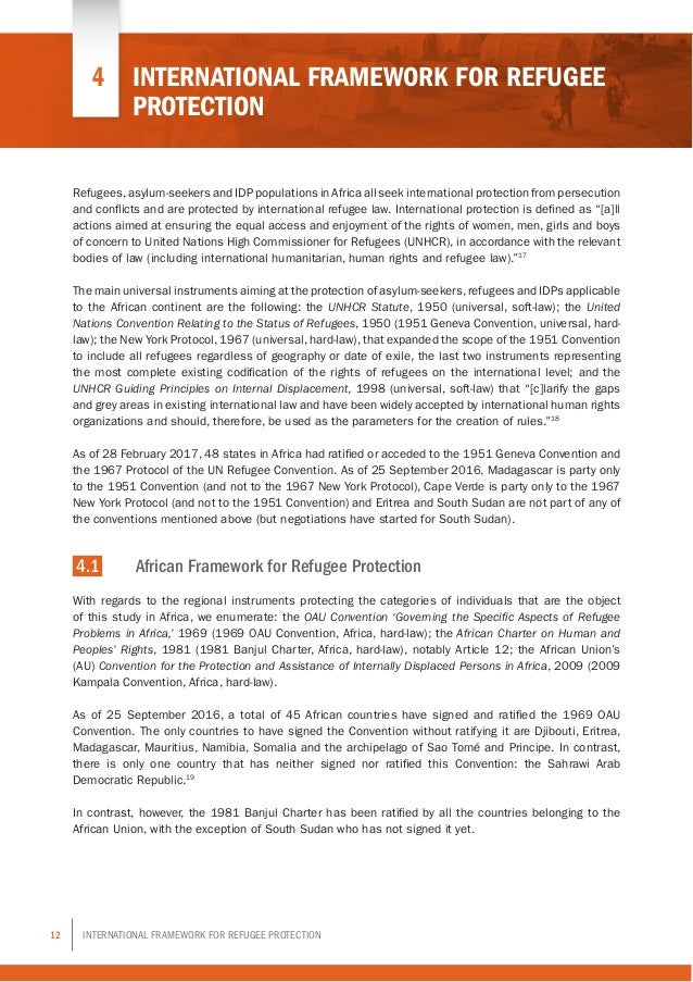 12 International Framework for Refugee Protection Refugees,asylum-seekers and IDP populations in Africa all seek internati...
