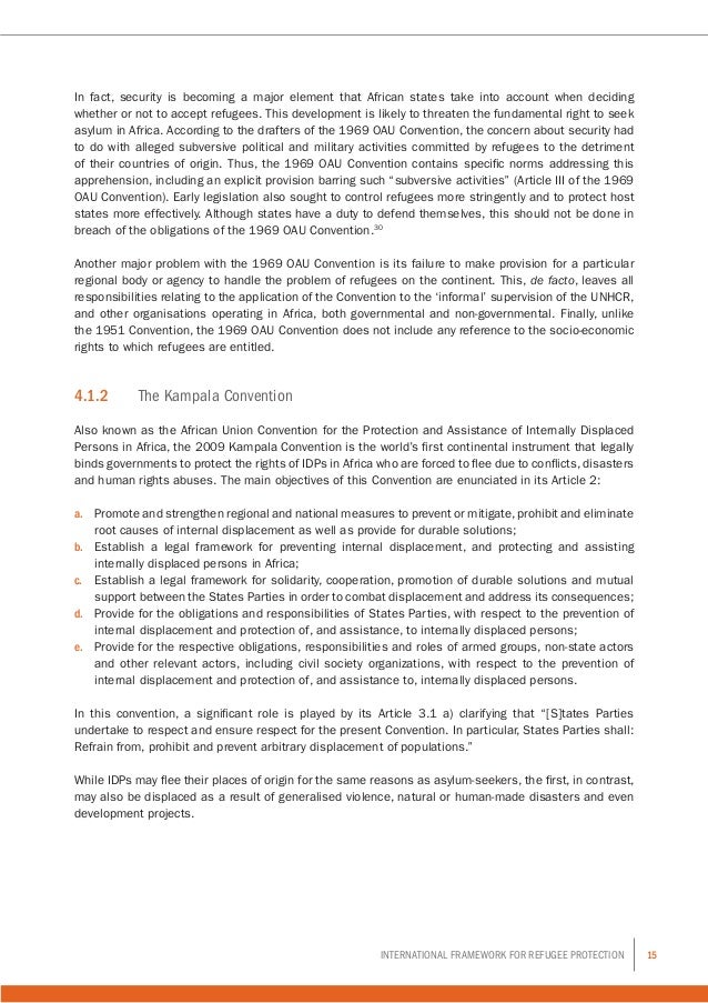 15International Framework for Refugee Protection In fact, security is becoming a major element that African states take in...