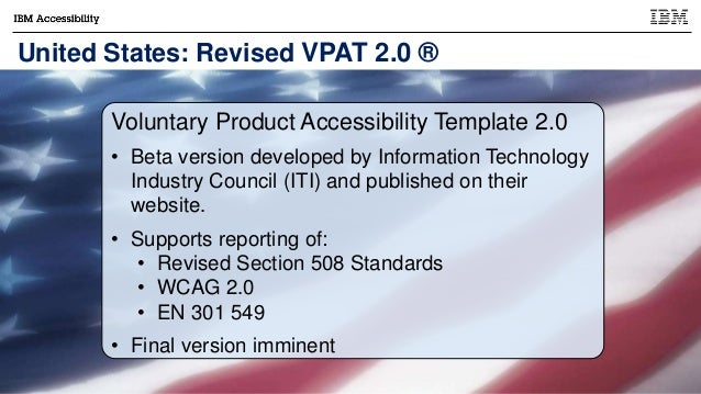 voluntary product accessibility template section 508 - accessu 2017 world tour of accessibility policy and standards