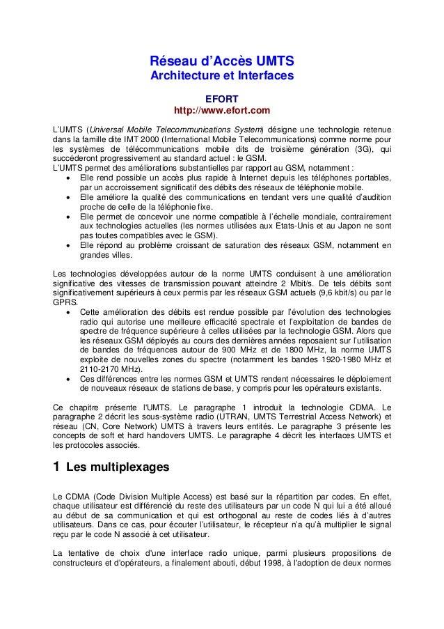 Réseau d'Accès UMTS                           Architecture et Interfaces                                          EFORT   ...