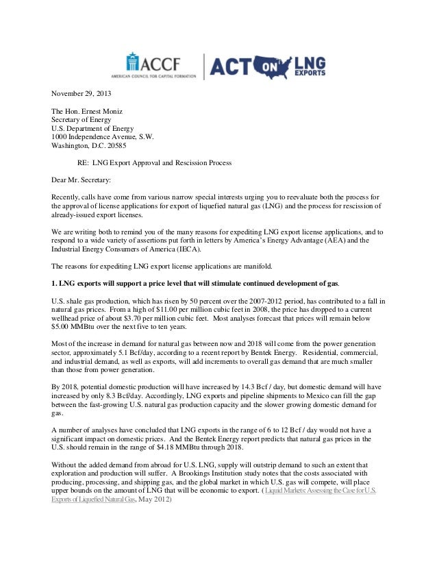 Accf letter to doe sec ernest moniz requesting expedited approval of november 29 2013 the hon ernest moniz secretary of energy us department of energy thecheapjerseys Image collections