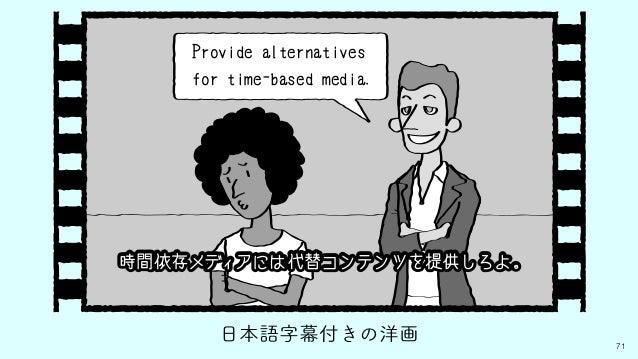 71 日本語字幕付きの洋画 Provide alternatives for time-based media. 時間依存メディアには代替コンテンツを提供しろよ。