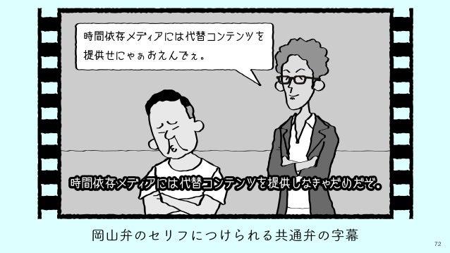 72 岡山弁のセリフにつけられる共通弁の字幕 時間依存メディアには代替コンテンツを 提供せにゃぁおえんでぇ。 時間依存メディアには代替コンテンツを提供しなきゃだめだぞ。
