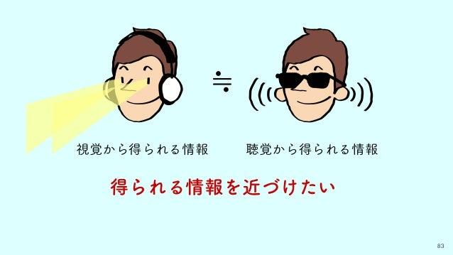 視覚から得られる情報 83 得られる情報を近づけたい ≒ 聴覚から得られる情報