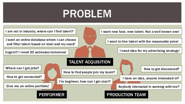 PROBLEM PERFORMER PRODUCTION TEAM TALENT ACQUISITION I am not in industry, where can I find talent? Where can I get jobs? ...