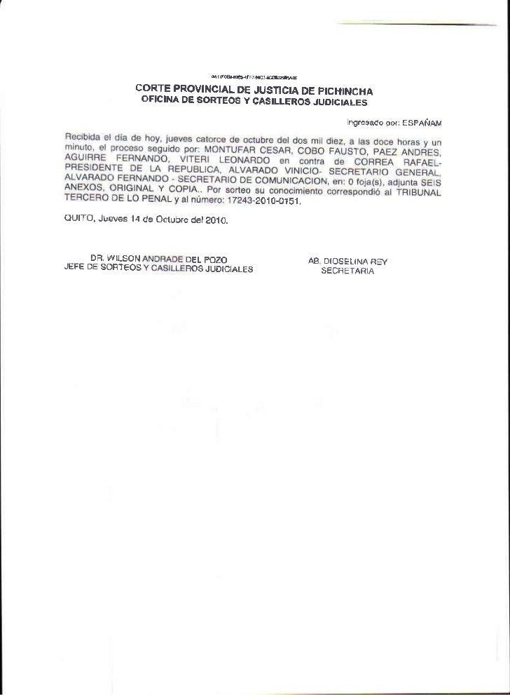 CORTE PROVINCIALDE JUSTICLA DE PrcTONCHA               OFICII{A DE SORTEOS Y CASILLEROS JUOETALES                         ...