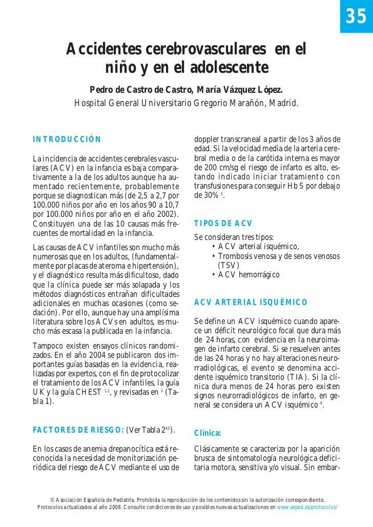35            Accidentes cerebrovasculares en el                 niño y en el adolescente                   Pedro de Castr...