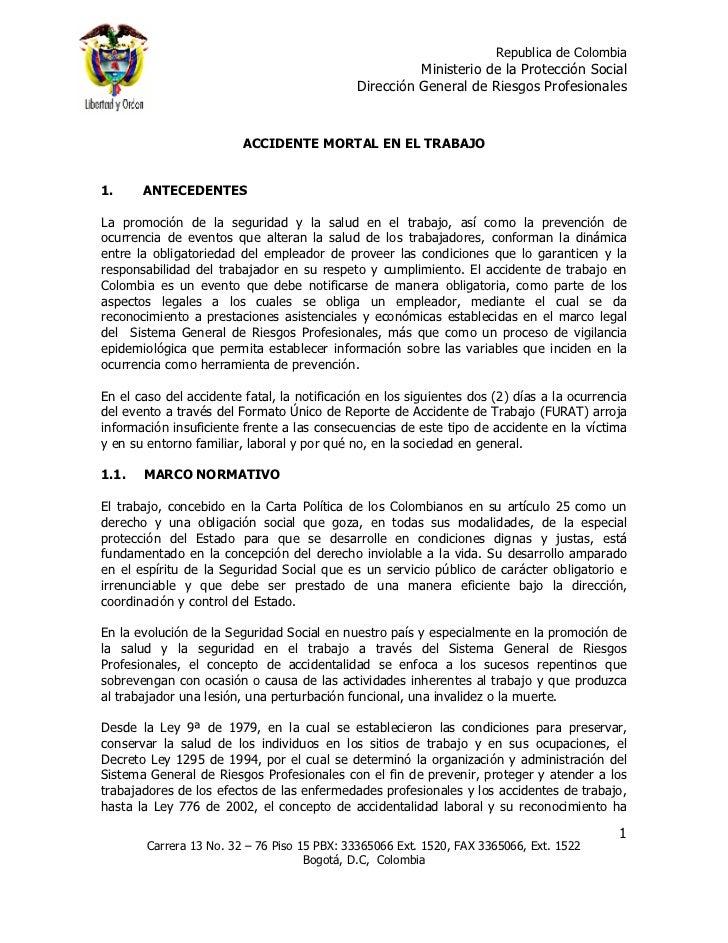 Republica de Colombia                                                       Ministerio de la Protección Social            ...