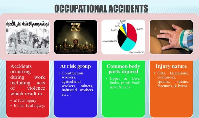 PREVENTION OF OCCUPATIONAL ACCIDENTS • Improving work environment. • Good machinery design, safety & good maintenance. • H...