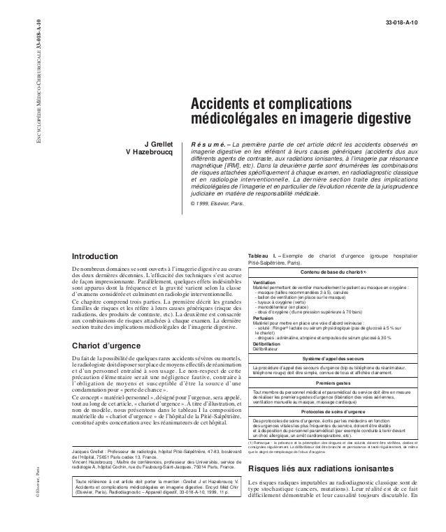 33-018-A-10  Accidents et complications  médicolégales en imagerie digestive  J Grellet  V Hazebroucq  R é s u m é. – La p...