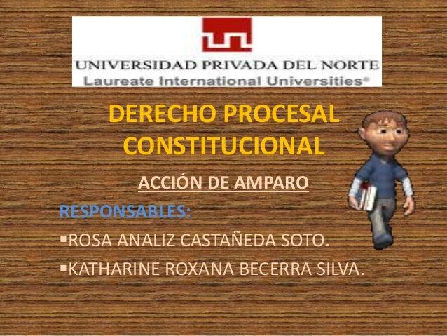 DERECHO PROCESAL CONSTITUCIONAL ACCIÓN DE AMPARO RESPONSABLES: ROSA ANALIZ CASTAÑEDA SOTO. KATHARINE ROXANA BECERRA SILV...