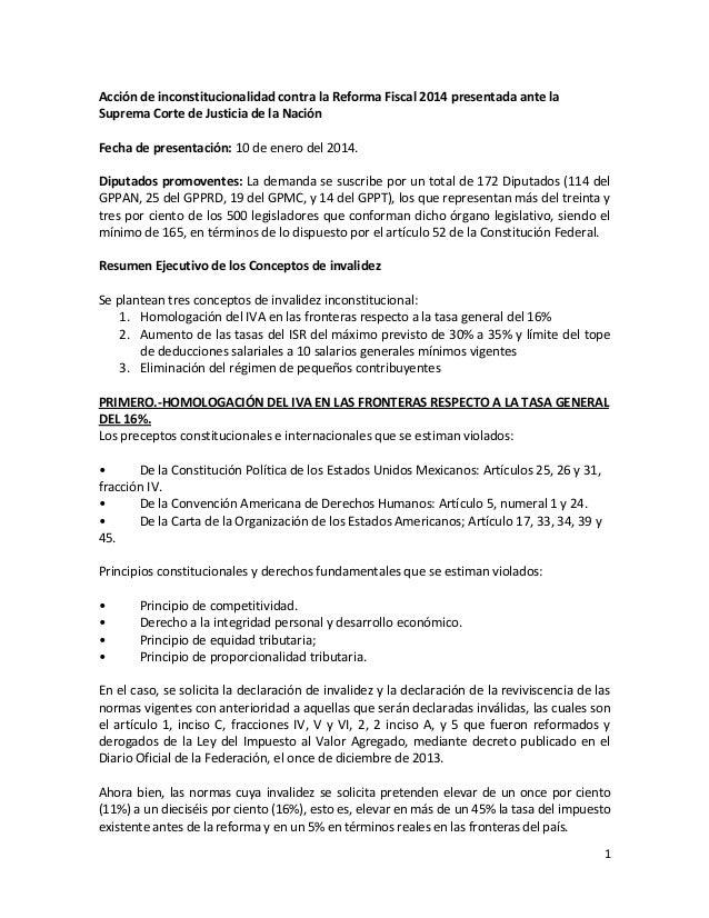 Acción de inconstitucionalidad contra la Reforma Fiscal 2014 presentada ante la Suprema Corte de Justicia de la Nación Fec...