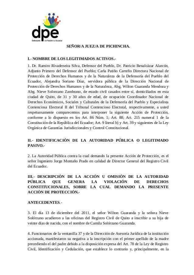 SEÑOR/A JUEZ/A DE PICHINCHA. I.- NOMBRE DE LOS LEGITIMADOS ACTIVOS.- 1. Dr. Ramiro Rivadeneira Silva, Defensor del Pueblo,...