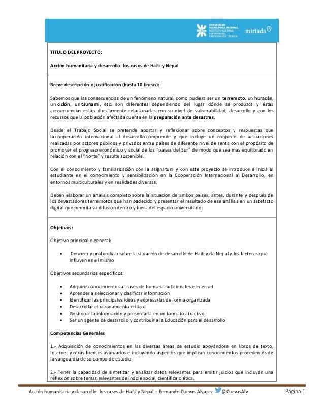 Acción humanitaria y desarrollo: los casos de Haití y Nepal – Fernando Cuevas Álvarez @CuevasAlv Página 1 TITULO DEL PROYE...