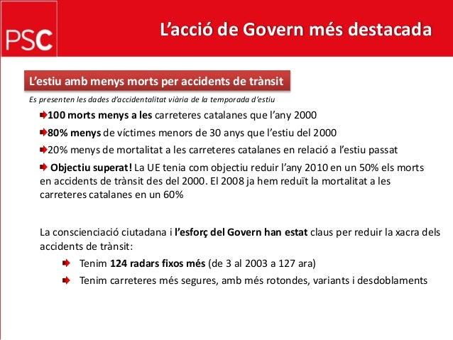 L'acció de Govern més destacada En temps de crisi, donem suport a la cohesió social dins dels municipis Presentació de 52 ...