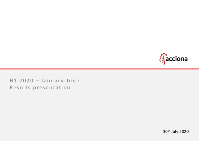 H1 2020 – January-June Results presentation 30th July 2020