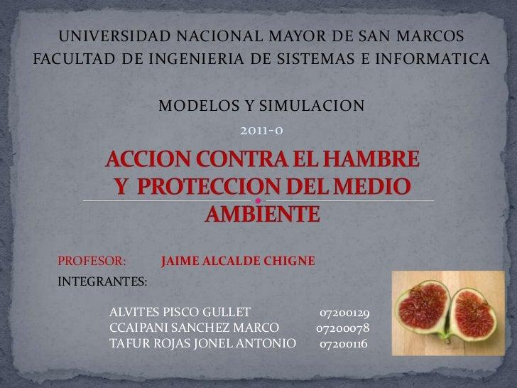UNIVERSIDAD NACIONAL MAYOR DE SAN MARCOS<br />FACULTAD DE INGENIERIA DE SISTEMAS E INFORMATICA<br />MODELOS Y SIMULACION<b...