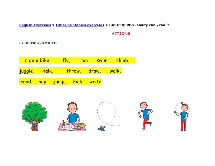 English Exercises > Other printables exercises > BASIC VERBS -ability can /can´t                                          ...