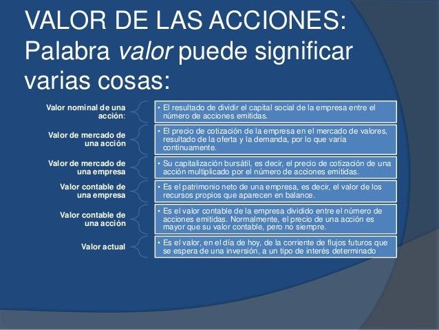 VALOR DE LAS ACCIONES: Palabra valor puede significar varias cosas: Valor nominal de una acción: • El resultado de dividir...
