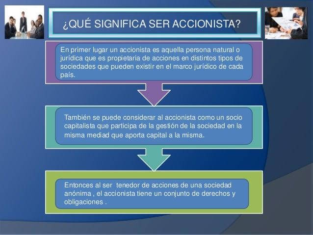 ¿QUÉ SIGNIFICA SER ACCIONISTA? En primer lugar un accionista es aquella persona natural o jurídica que es propietaria de a...