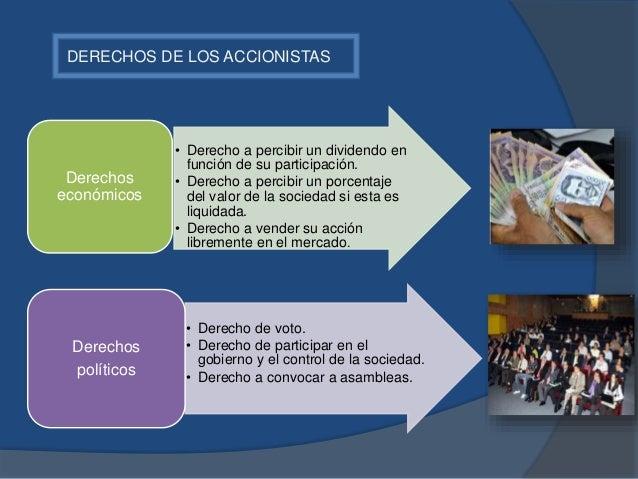 DERECHOS DE LOS ACCIONISTAS • Derecho a percibir un dividendo en función de su participación. • Derecho a percibir un porc...