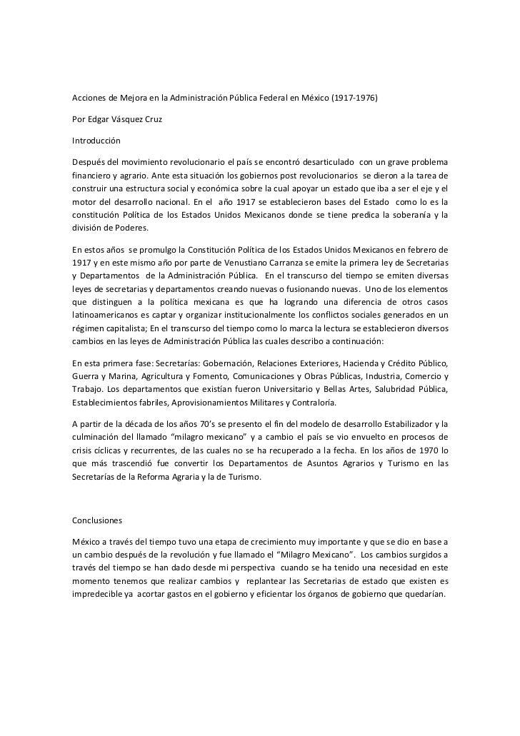 Acciones de Mejora en la Administración Pública Federal en México (1917-1976)Por Edgar Vásquez CruzIntroducciónDespués del...