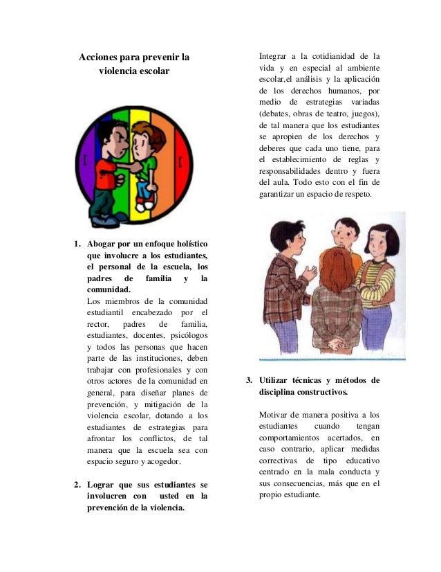 Acciones Para Prevenir La Violencia Escolar