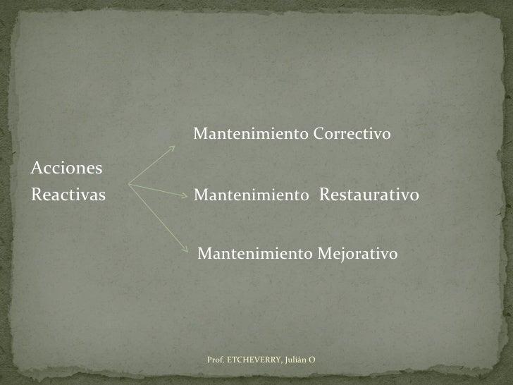 Mantenimiento CorrectivoAccionesReactivas   Mantenimiento Restaurativo            Mantenimiento Mejorativo             Pro...
