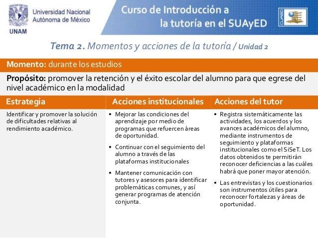 Tema 2. Momentos y acciones de la tutoría / Unidad 2 Momento: durante los estudios Propósito: promover la retención y el é...