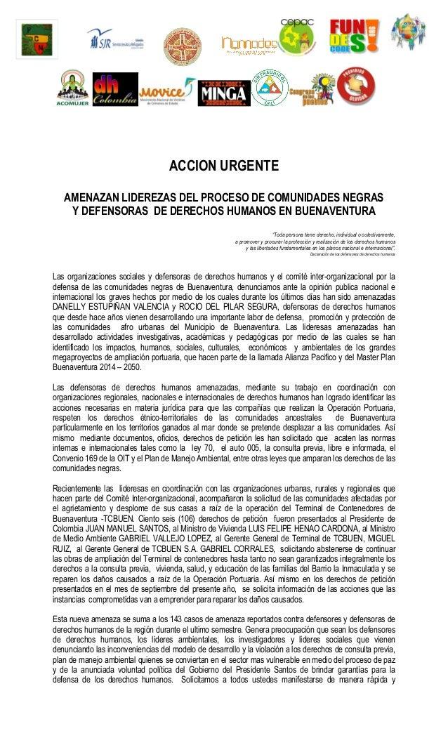 ACCION URGENTE AMENAZAN LIDEREZAS DEL PROCESO DE COMUNIDADES NEGRAS Y DEFENSORAS DE DERECHOS HUMANOS EN B...