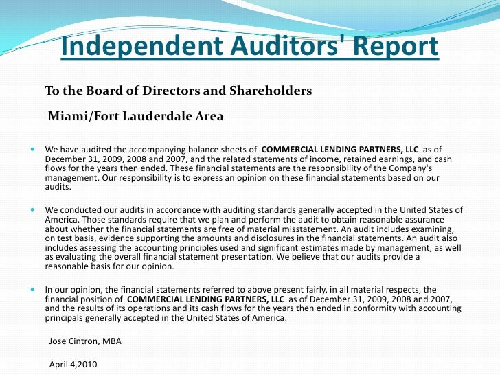 audit financial statements example