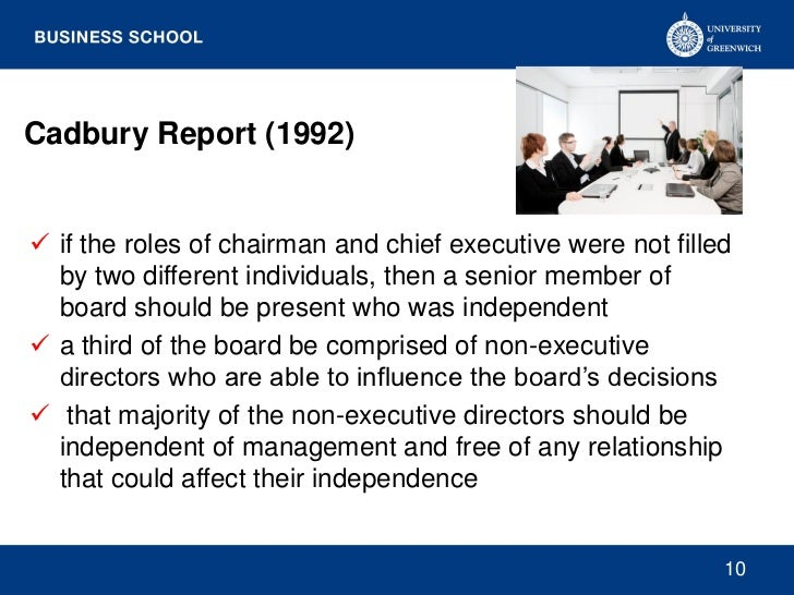 Cadbury Report (1992) if the roles of chairman and chief executive were not filled  by two different individuals, then a ...